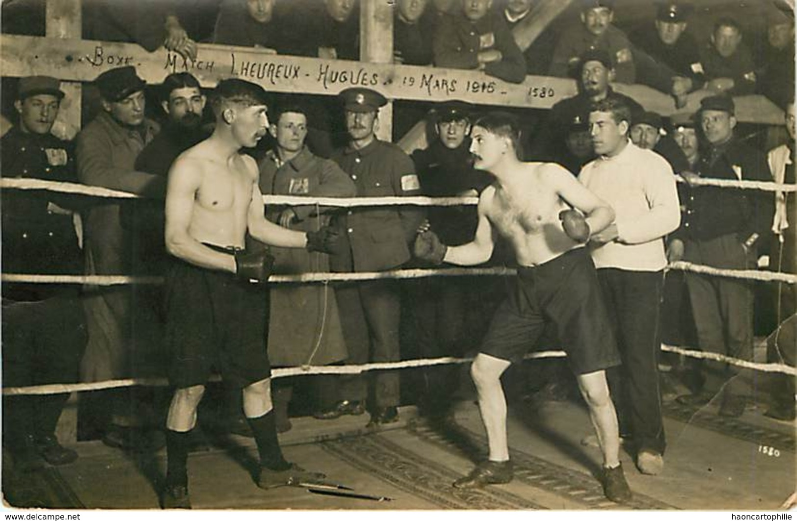 Boxe  Match Lheureux Hugues 19 Mars 1915 Carte Photo - Boxe