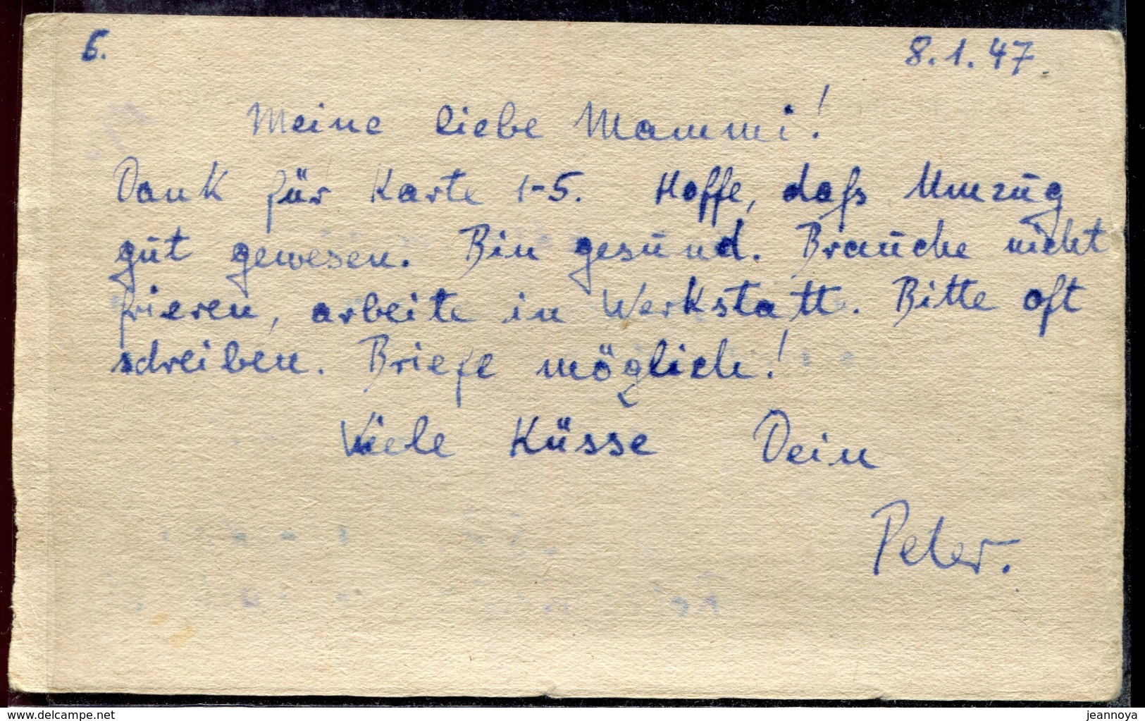 RUSSIE - CP DE PRISONNIER DE GUERRE EN FRANCHISE DE MOSCOU POUR L'ALLEMAGNE DU 8/1/1947 AVEC CENSURE - TB - Covers & Documents