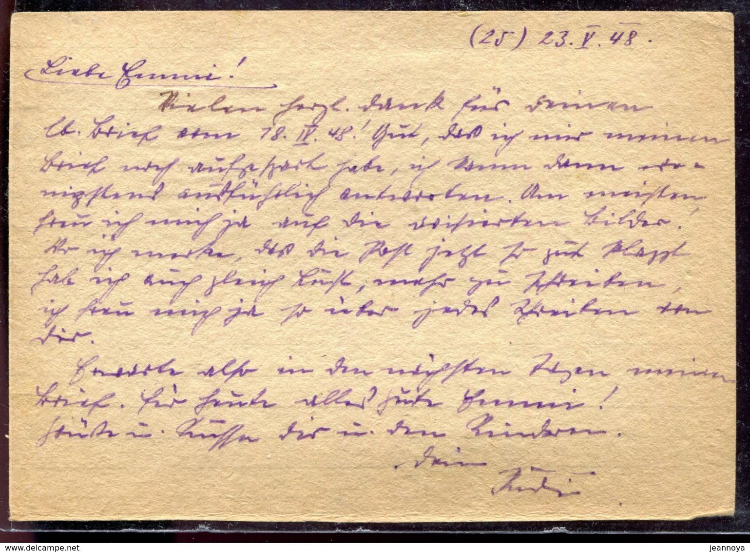 RUSSIE - CP DE PRISONNIER DE GUERRE EN FRANCHISE DE MOSCOU POUR L'ALLEMAGNE DU 23/5/1948 AVEC CENSURE - TB - Covers & Documents