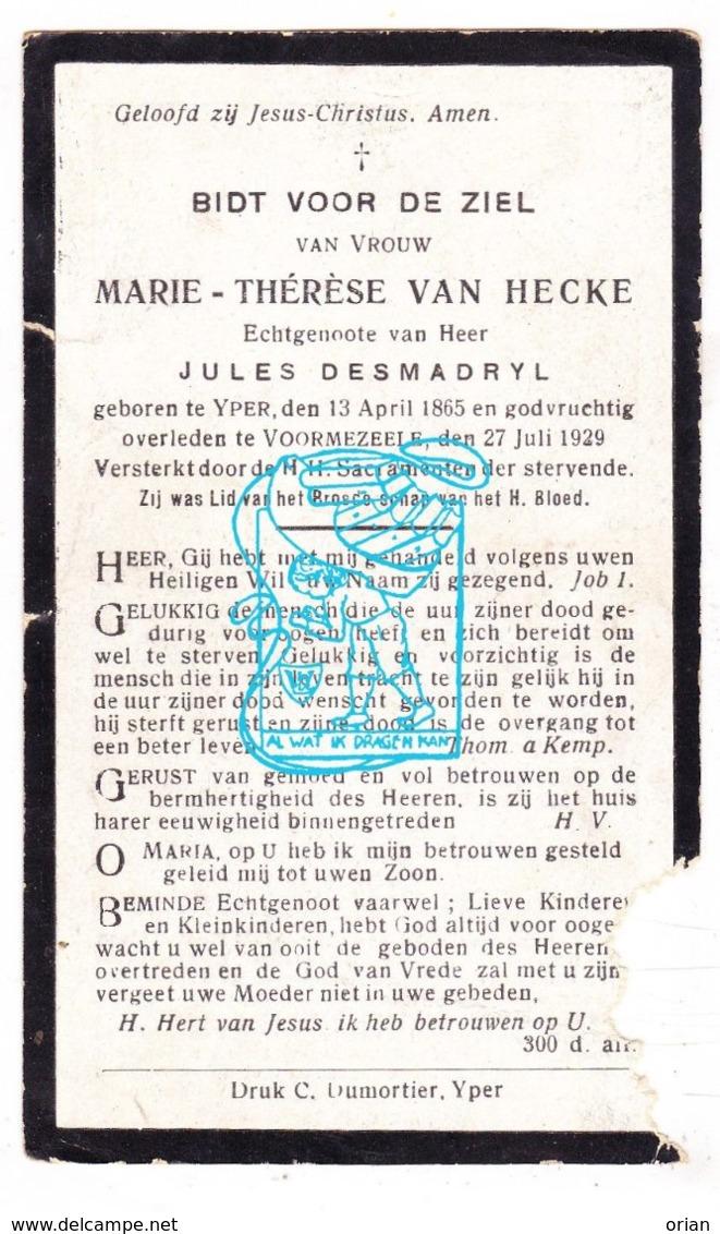 DP Marie Th. Van Hecke ° Ieper 1865 † Voormezele 1929 X Jules Desmadryl - Imágenes Religiosas