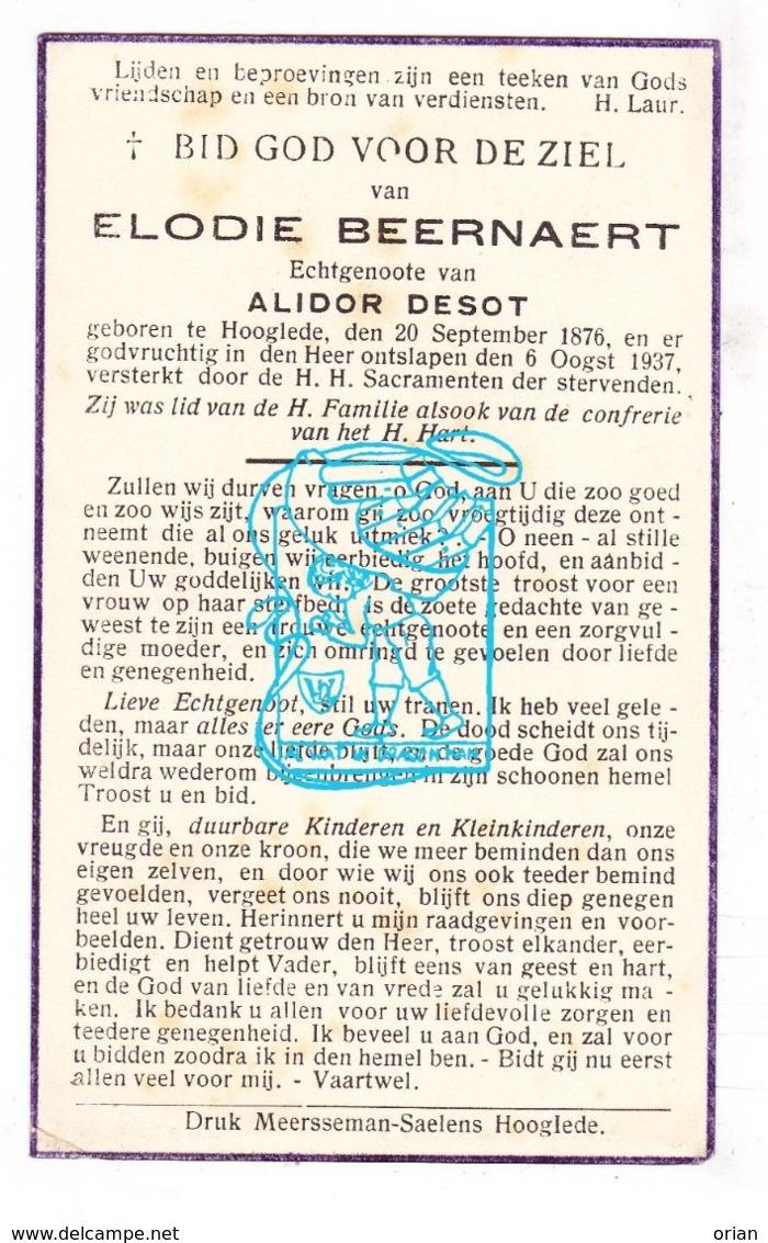 DP Elodie Beernaert ° Hooglede 1876 † 1937 X Alidor Desot - Devotion Images