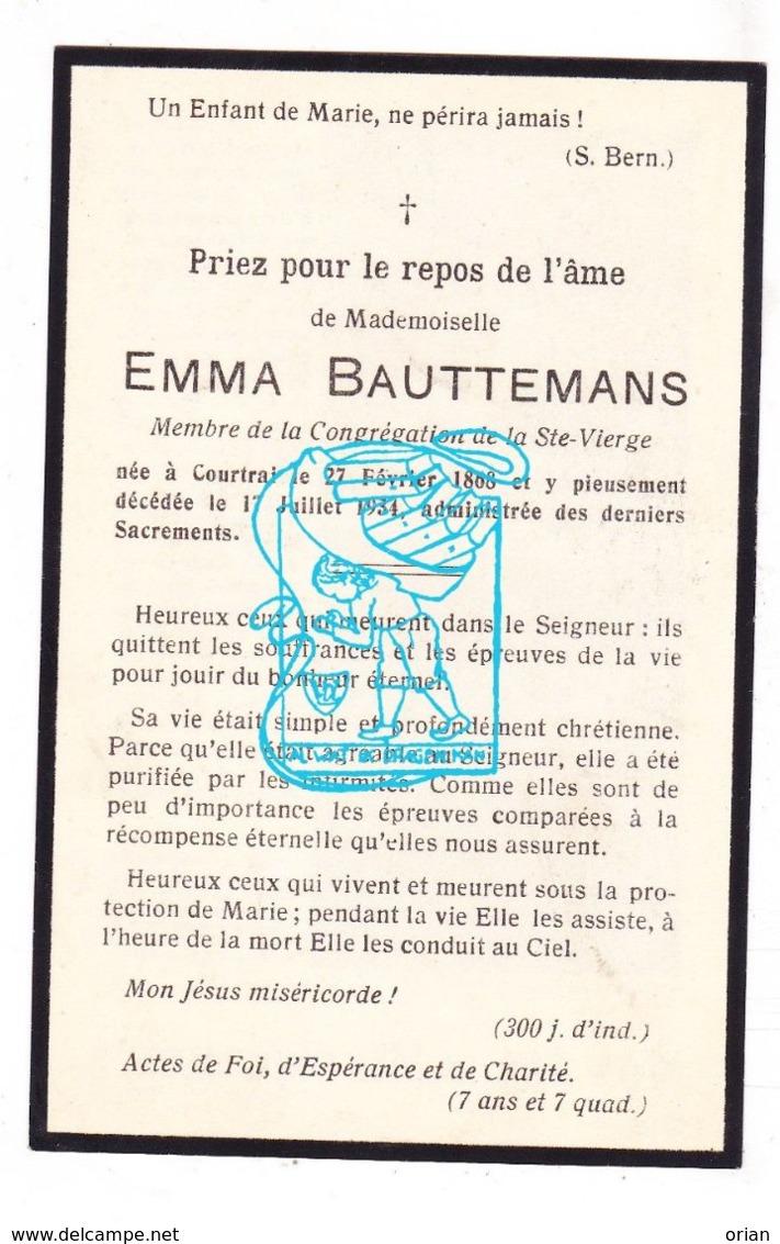 DP Emma Bauttemans ° Kortrijk 1868 † 1934 - Devotion Images
