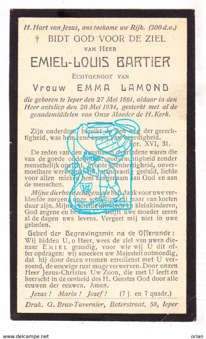 DP Emiel L. Bartier ° Ieper 1861 † 1934 X Emma Lamond - Imágenes Religiosas