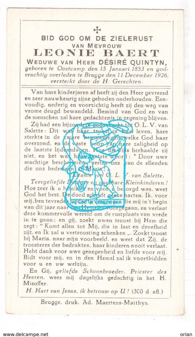 DP Leonie Baert ° Oostkamp 1853 † Brugge 1926 X Désiré Quintyn - Imágenes Religiosas