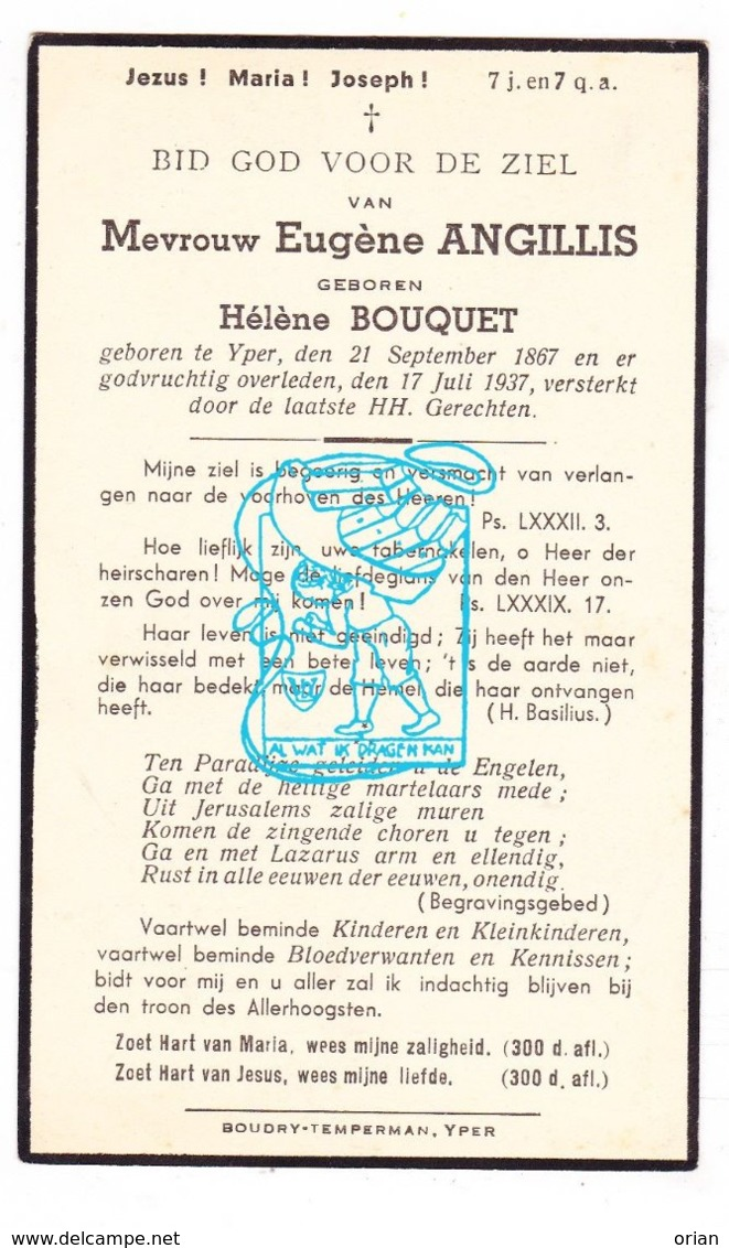 DP Hélène Bouquet ( Boucquet ) ° Ieper 1867 † 1937 X Eugène Angillis - Imágenes Religiosas