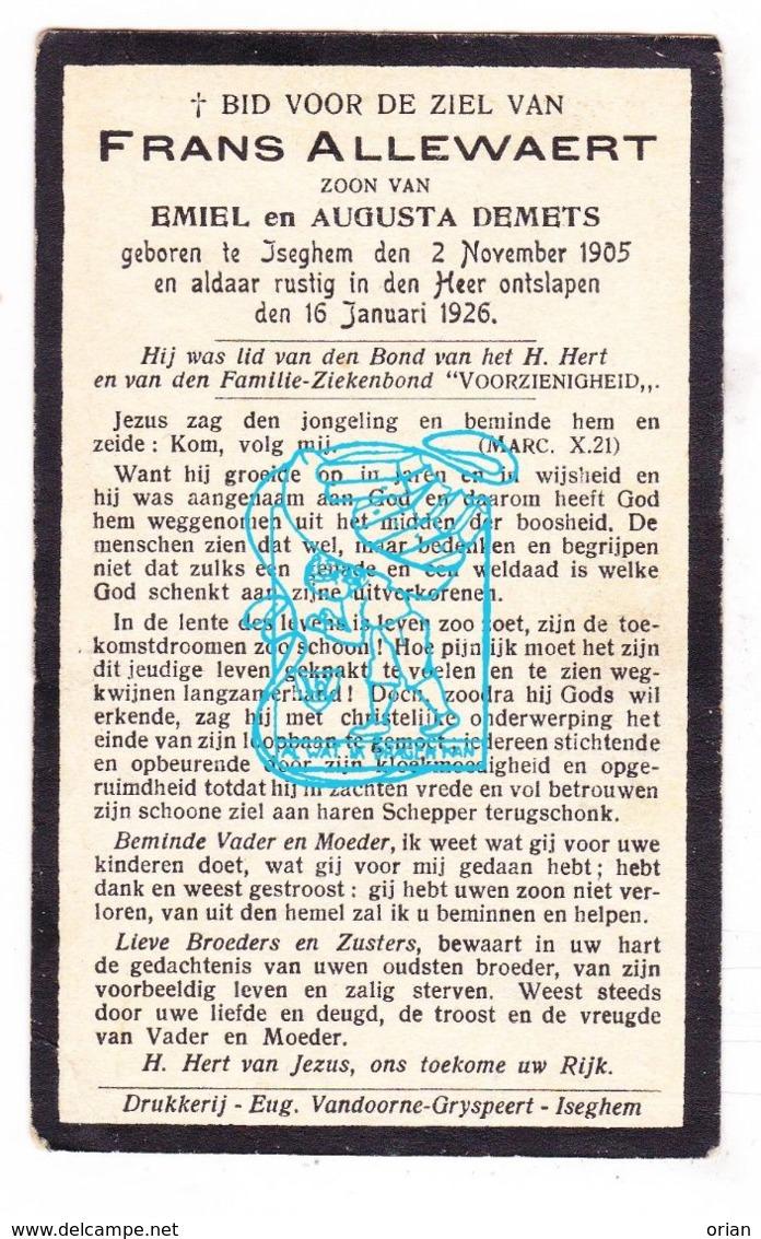 DP Frans Allewaert / Demets 20j. ° Izegem 1905 † 1926 - Devotieprenten