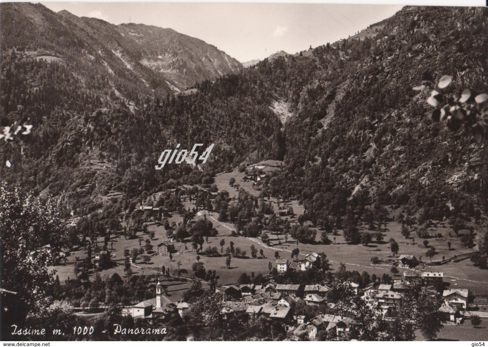 Aosta Gressoney Issime Panorama Retro Senza Stampa Fg - Italy