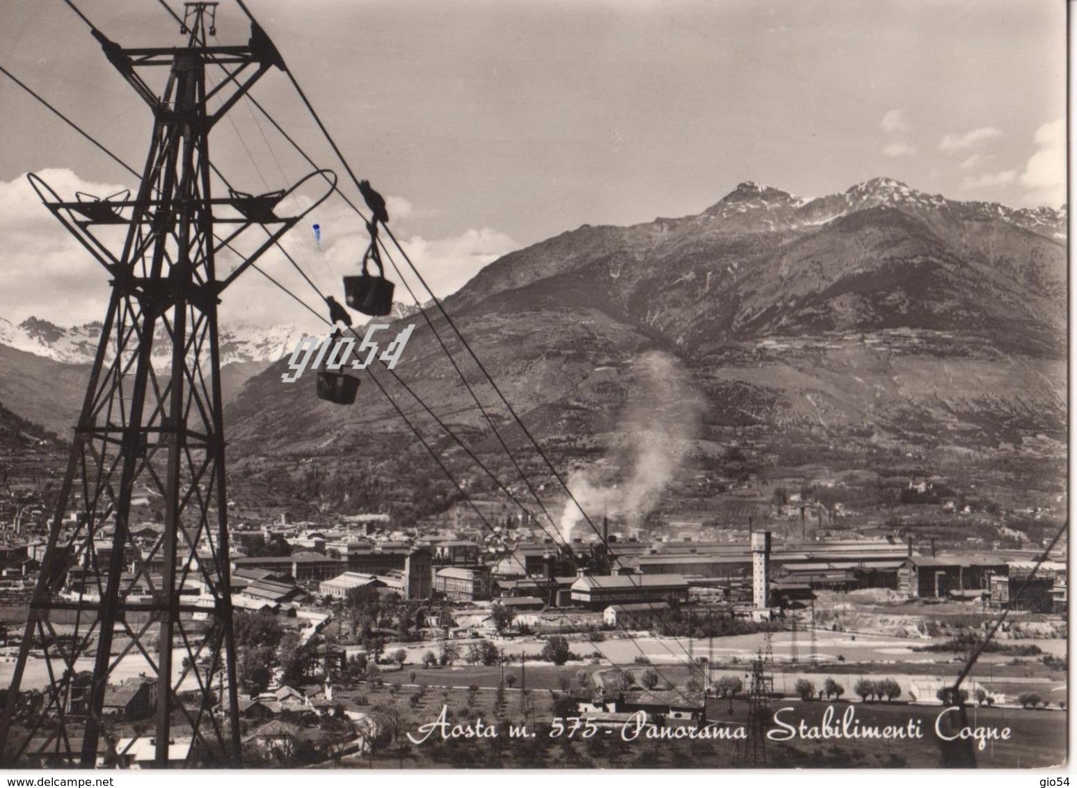 Aosta Panorama Stabilimenti Cogne Teleferica Miniera Fg - Italy