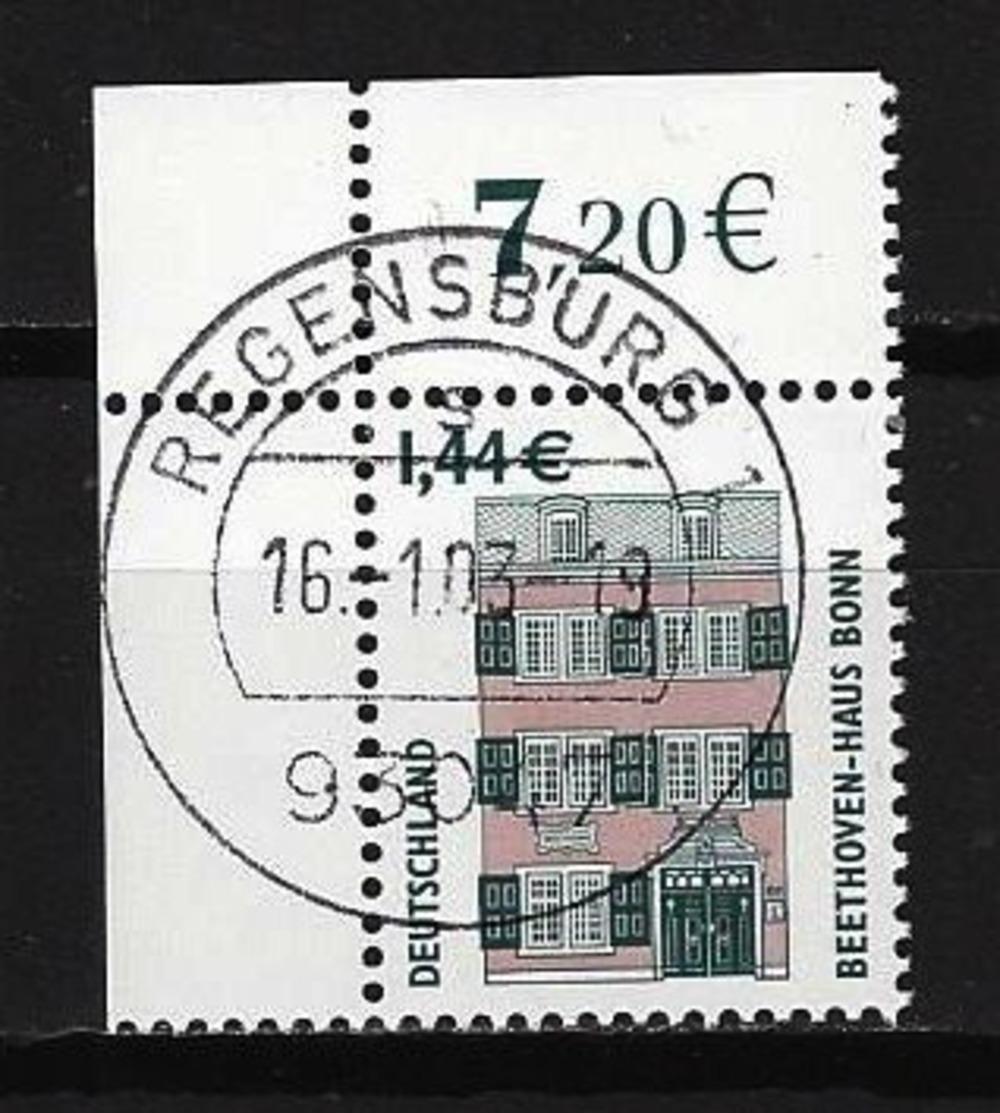 BUND Mi-Nr. 2306 Linkes, Oberes Eckandstück Beehoven-Haus, Bonn Gestempelt REGENSBURG - BRD