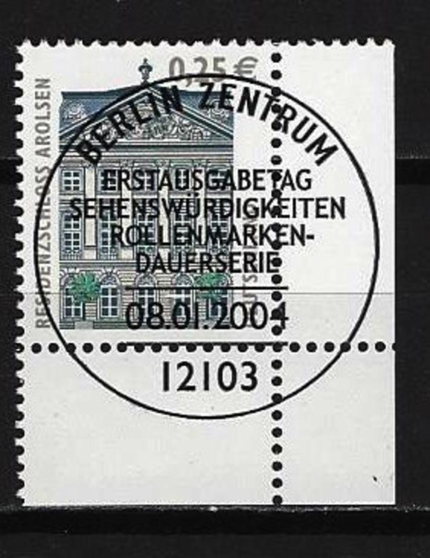 BUND Mi-Nr. 2374 Rechtes, Unteres Eckandstück Residenz-Schloss, Arolsen Gestempelt - BRD