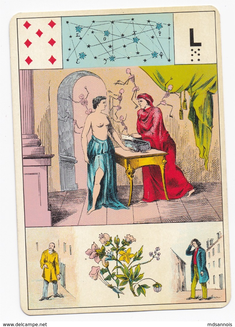 Carte à Jouer 12,8 X 9 Cm Astronomie ? Divination ? Tarot ? Lettre L - Cartes à Jouer
