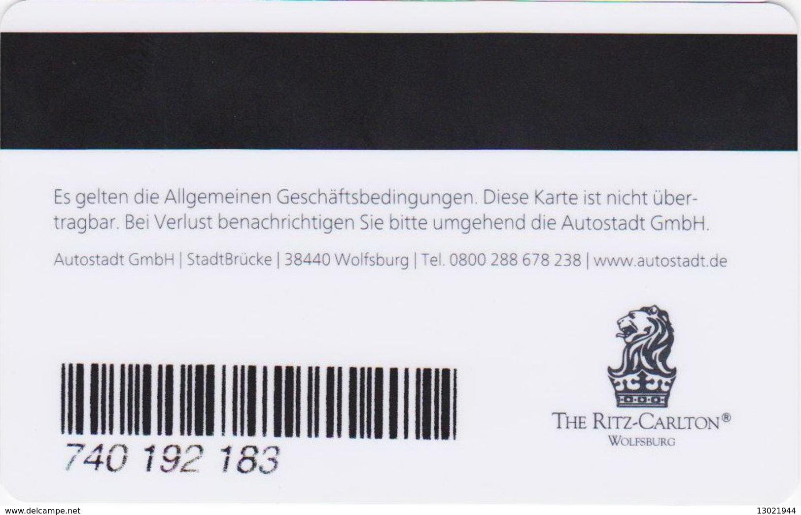 GERMANIA  KEY HOTEL  The Ritz-Carlton Wolfsburg - Autostadt - Hotelkarten