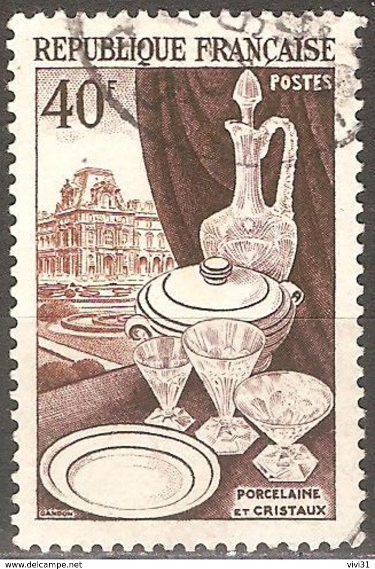 France - 1954 - Porcelaine, Cristaux Et Le Louvre - YT 972 Oblitéré - Usati