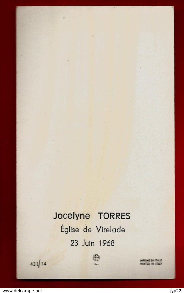 Image Pieuse Religieuse Holy Card Communion Jocelyne Torres Eglise De Virelade 23-06-1968 - Ed AR 431/14 - Imágenes Religiosas