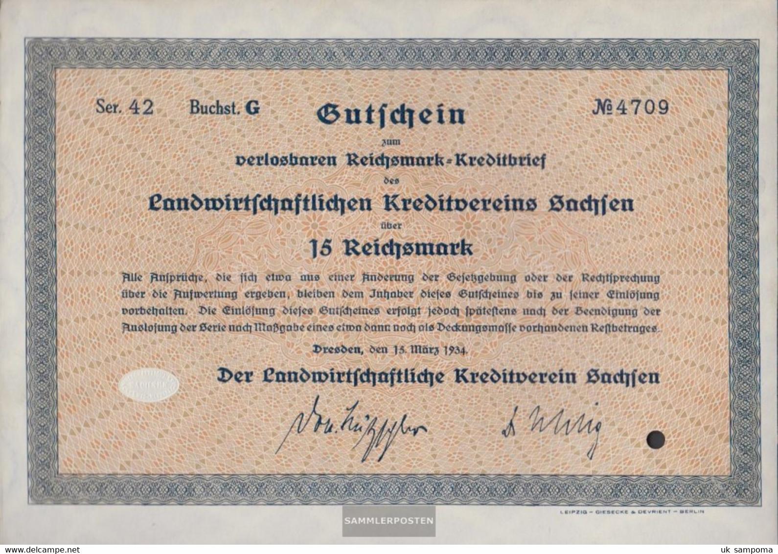 German Empire 15 Reichsmark, Gutschein Druckfrisch 1934 Landwirts. Kreditverein Saxony - Unclassified