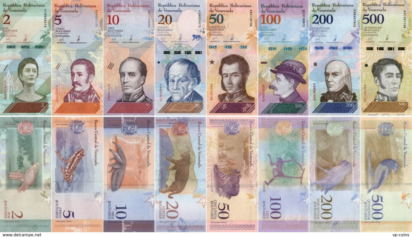 Venezuela. A Set Of Banknotes. 2, 5, 10, 20, 50, 100, 200, 500 Bolivars. 2018. UNC. 8 Banknotes - Venezuela