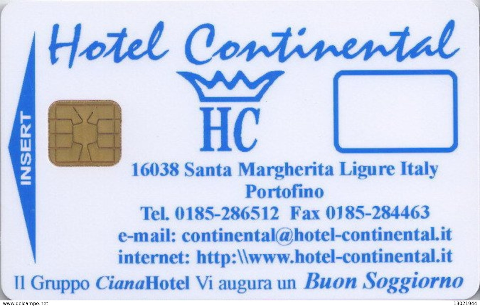 ITALIA  KEY HOTEL   Continental Portofino - Hotelkarten