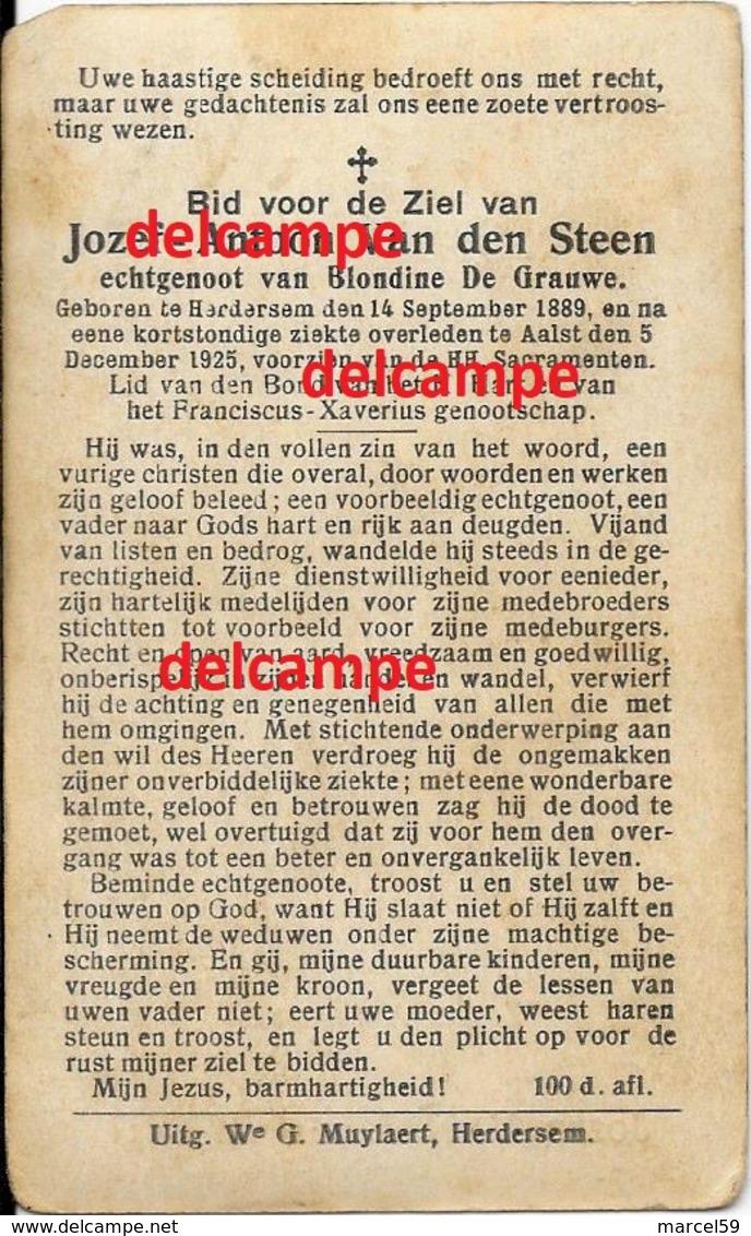 Bidprentje Jozef Van Den Steen Herdersem 1889 En Overleden Te Aalst 1925 De Grauwe Blondine Doodsprentje - Imágenes Religiosas
