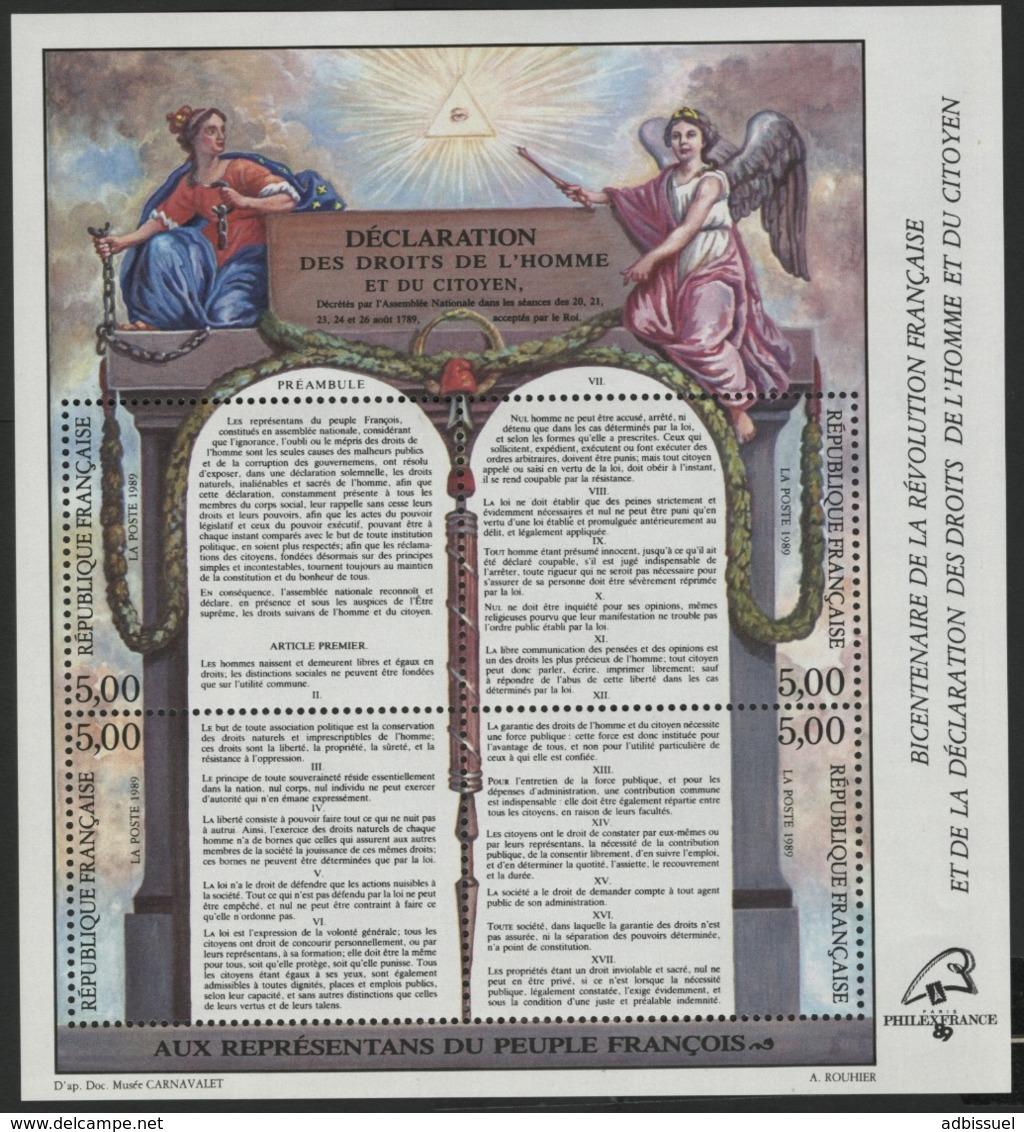 """BF 11 """"Bicentenaire De La Révolution Française Et De La DDHC"""". Neuf Sans Charnière **. TB - Blocchi & Foglietti"""