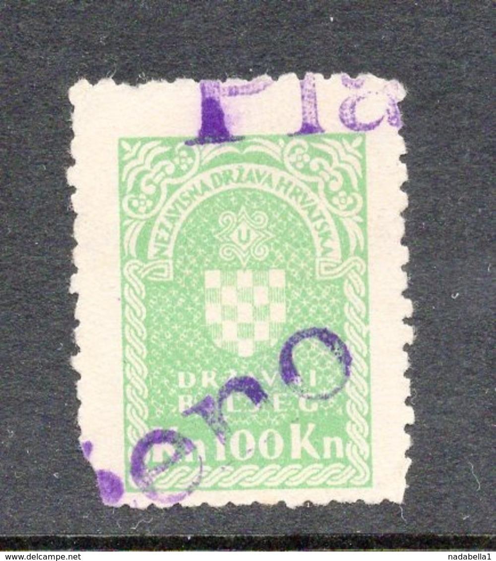 NDH, CROATIA, ZAGREB, 100 KUNA REVENUE STAMP - Croazia