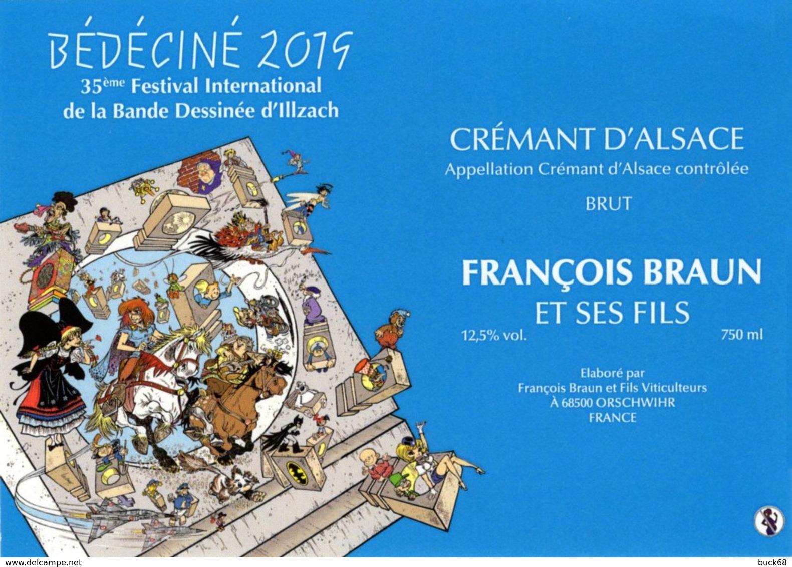 BEDECINE 2019 ILLZACH Ph. LUGUY : étiquette Vin Crémant Label Alsacienne Astérix Tintin Percevan Tanguy Mirage Hendrix - Other