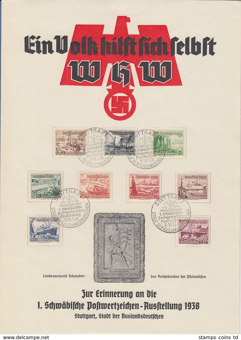 Deutsches Reich WHW Schiffe Mi.-Nr. 651-659 Auf A4-Gedenkblatt Stuttgart 1938 - Deutschland