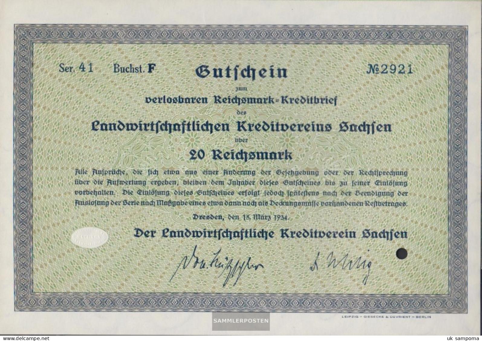 German Empire 20 Reichsmark, Gutschein Very Fine 1934 Landwirts. Kreditverein Saxony - [ 4] 1933-1945 : Third Reich