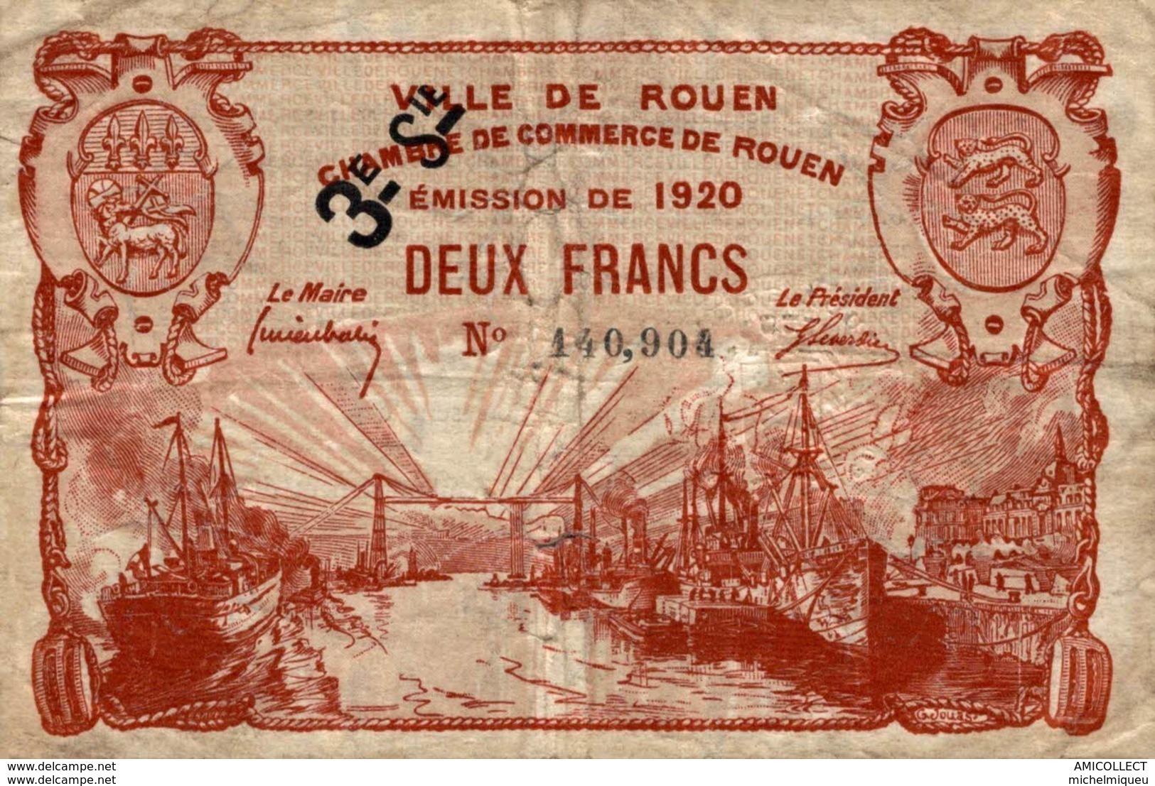 9987-2019    BILLET CHAMBRE DE COMMERCE DE ROUEN - Handelskammer