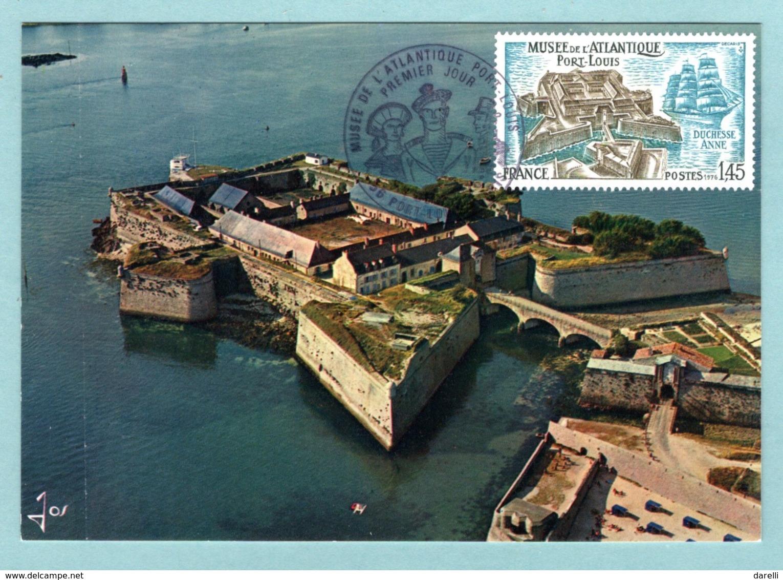 Carte Maximum 1976 - Musée De L'Atlantique Port-Louis - YT  1913 - 56 Port-Louis Et Paris - Cartes-Maximum