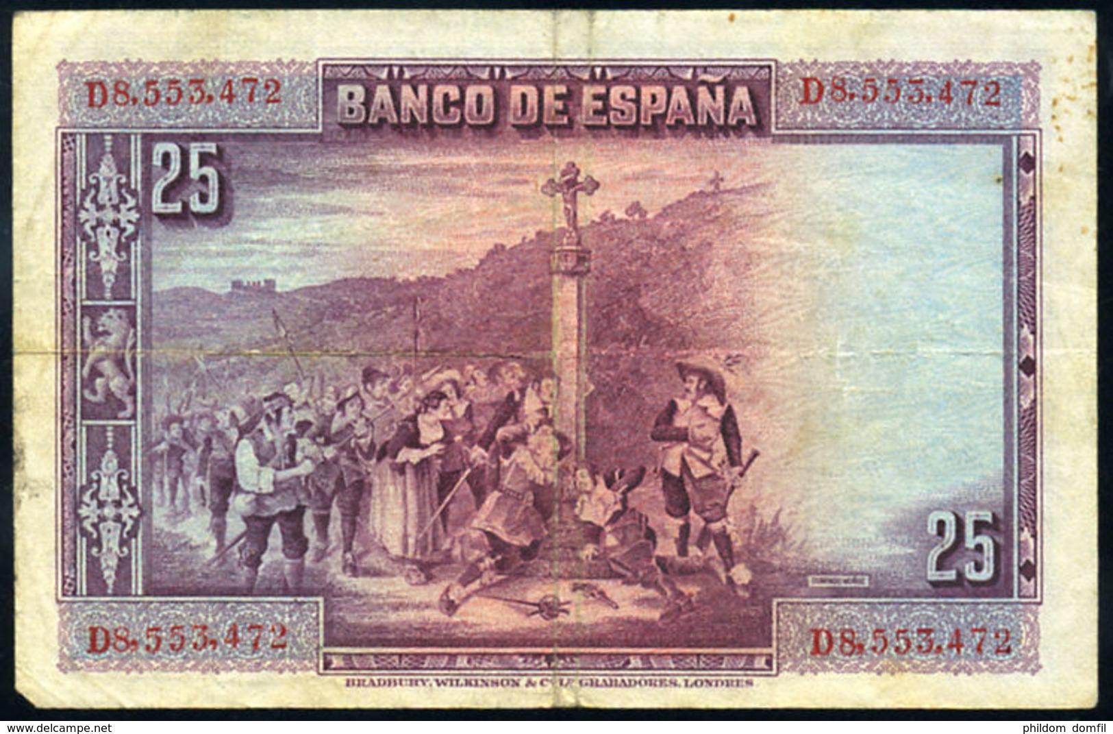 Ref. 412-736 - BIN SPAIN . 1928. 25 PESETAS 1928 BOAT PILOT WHALE. 25 PESETAS 1928 CALDERON DE LA BARCA - [ 1] …-1931 : Primeros Billetes (Banco De España)