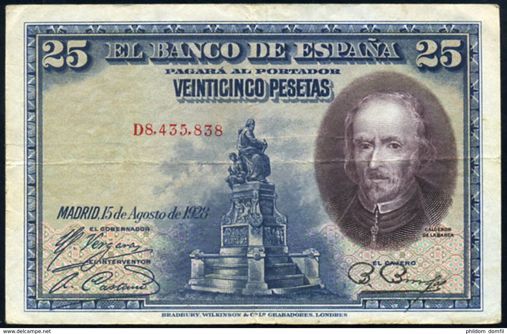 Ref. 412-737 - BIN SPAIN . 1928. 25 PESETAS 1928 BOAT PILOT WHALE. 25 PESETAS 1928 CALDERON DE LA BARCA - [ 1] …-1931 : Primeros Billetes (Banco De España)