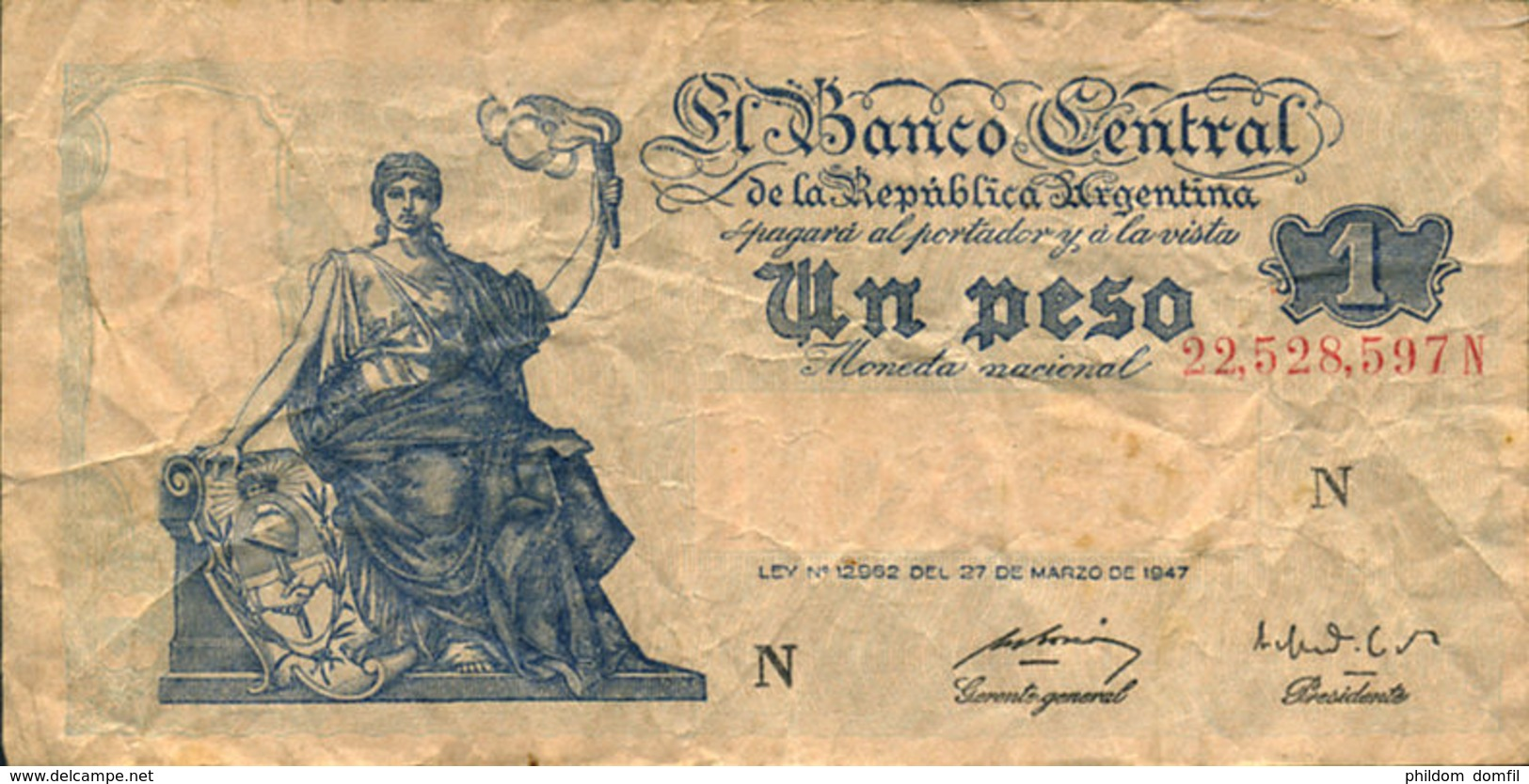 Ref. 471-906 - BIN ARGENTINA . 1947. 1 PESO ARGENTINA 1947. 1 PESO ARGENTINA 1947 - Argentina