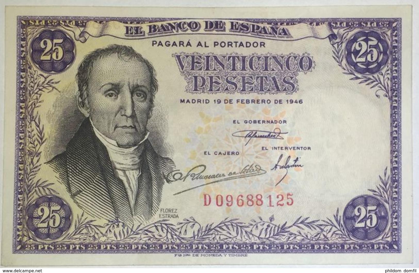 Ref. 230-1088 - BIN SPAIN . 1946. 25 Pesetas 19th February 1946 - Florez Estrada.. 25 Pesetas 19 De Febrero 1946 - Flore - [ 3] 1936-1975 : Regime Di Franco