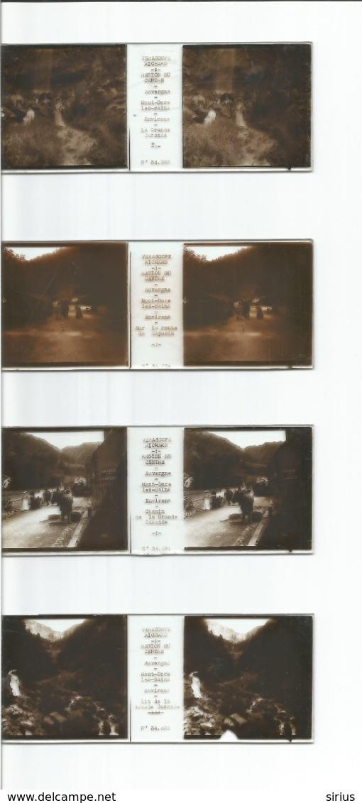 Verascope Richard - Auvergne MONT DORE LES BAINS Grande Cascade Et Route Du Capucin ( Lot De 4 Plaques ) - Glasplaten