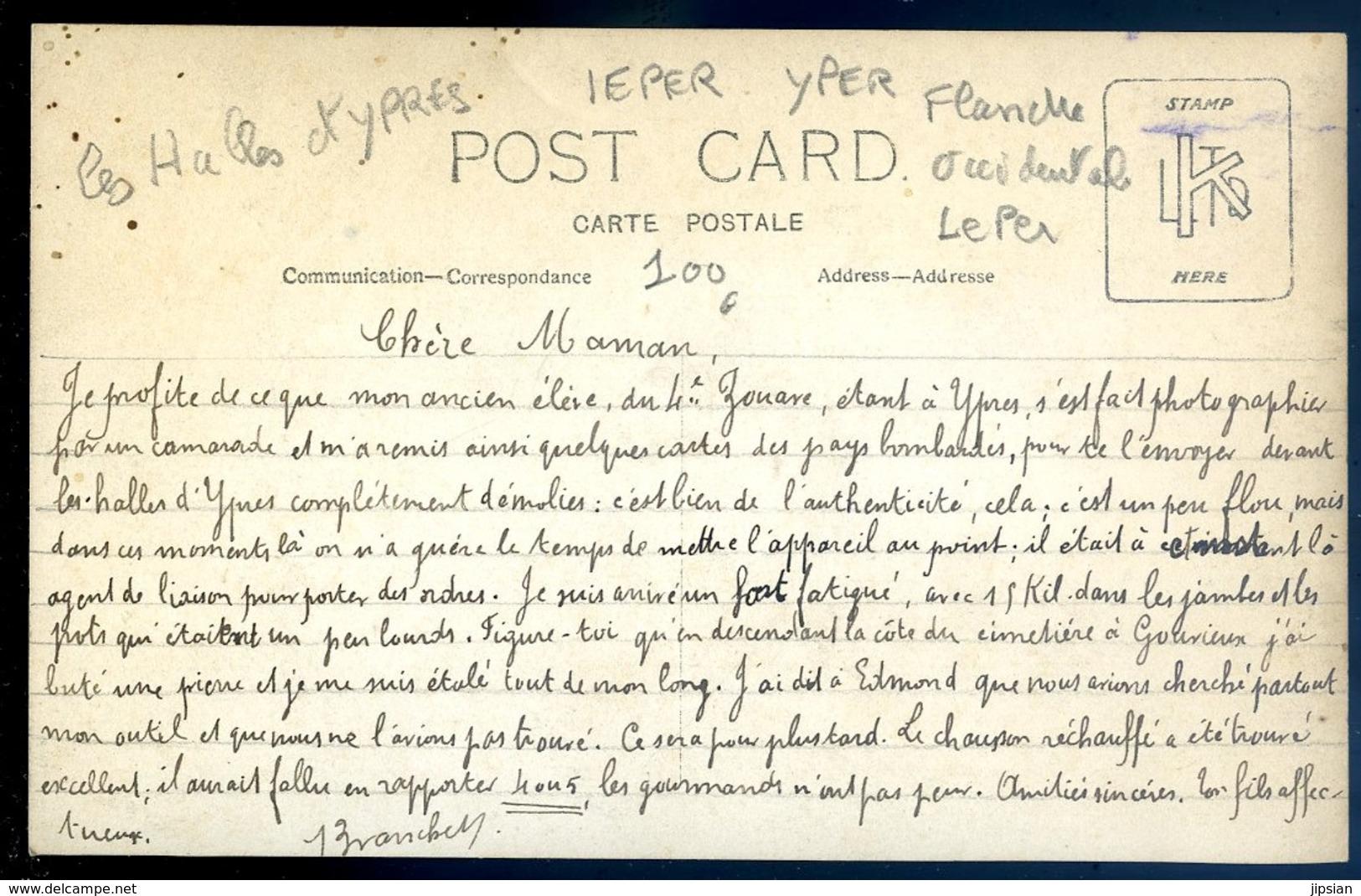 Cpa Carte Photo De Belgique Ancien élève Du 4è Zouave Devant Halles Ypres Agent Liaison Pour Les Ordres -- Leper  LZ91 - Ieper