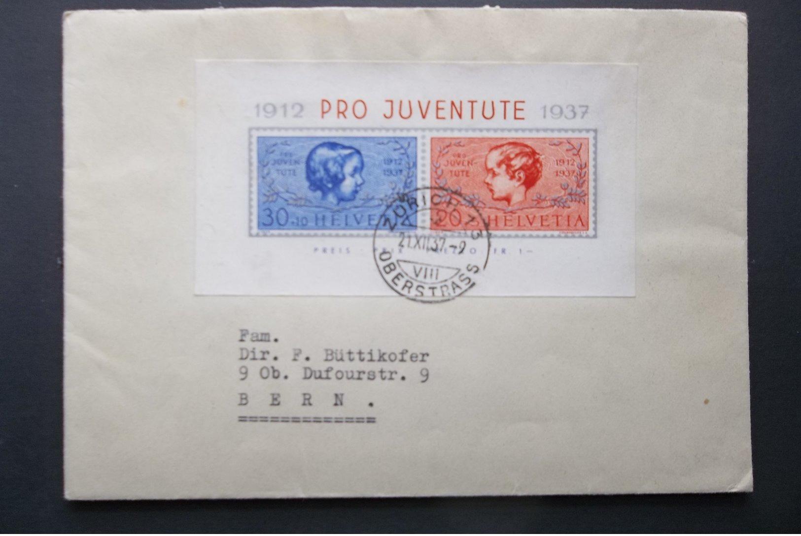Helvetia: 1937 S/S Cover To Bern (#KV2) - Svizzera