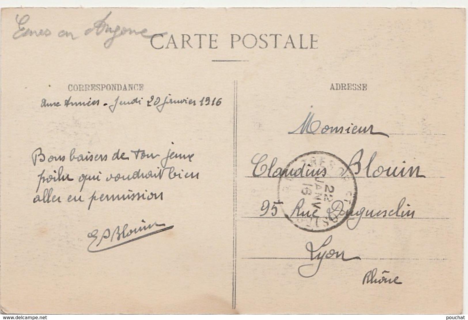 H16-55) ESNES EN ARGONNE (MEUSE) CARTE SANS LEGENDE N°3  - (REGIMENT MILITAIRES -  CAFE DE LA PLACE - 2 SCANS) - France