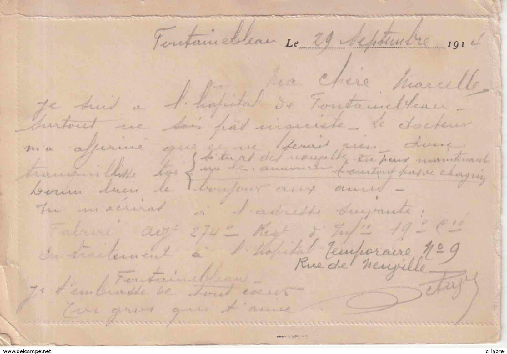 """FRANCE : CARTE LETTRE FM . ( INCOMPLETE ) . DU """" 32 Eme RA DE FONTAINEBLEAU """" . 1914 . - WW I"""