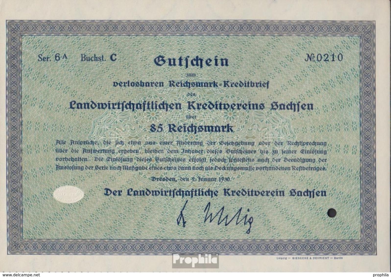 Deutsches Reich 85 Reichsmark, Gutschein Druckfrisch 1930 Landwirts. Kreditverein Sachsen - 1918-1933: Weimarer Republik