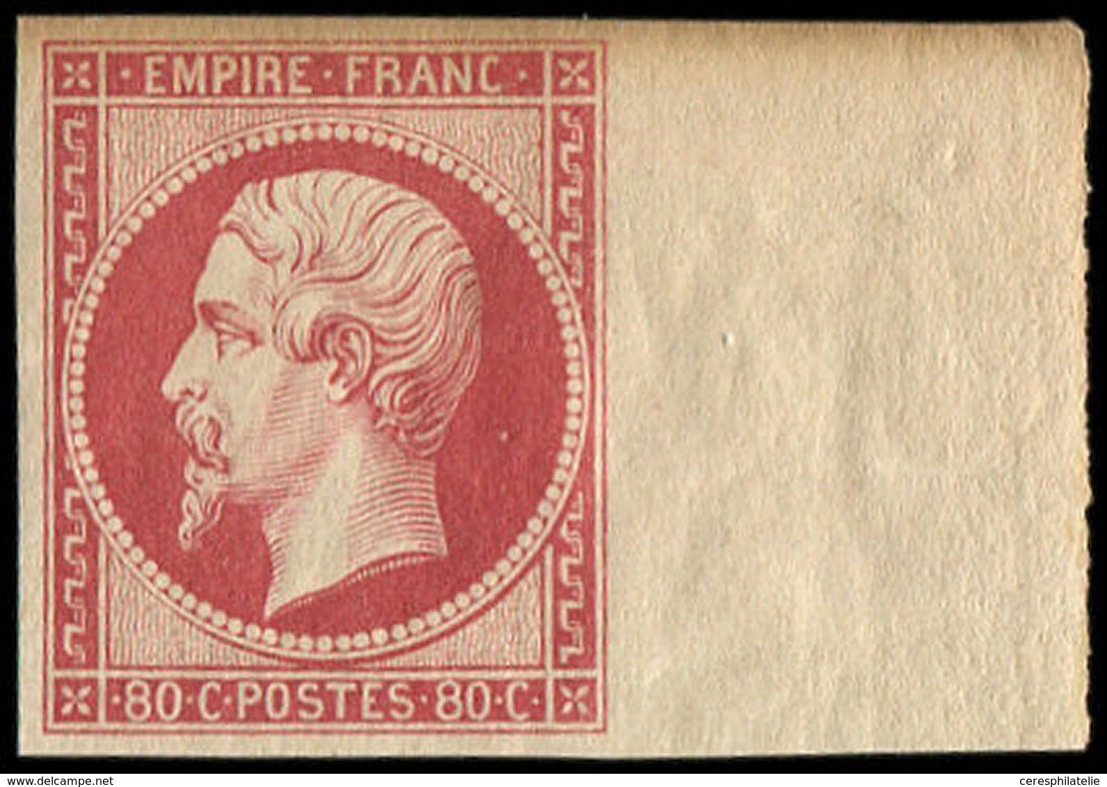 * EMPIRE NON DENTELE - R17h 80c. Carmin-rose, REIMPRESSION, Bdf, La Marge Sup. Est Lég. Jaunie, Néanmoins Frais Et TB - 1853-1860 Napoleon III