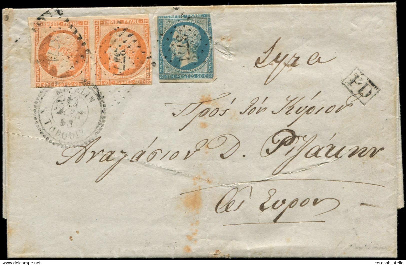 Let BUREAUX FRANCAIS A L'ETRANGER - N°14A Et 16 PAIRE, Tous Défx, Obl. PC 3771 S. LAC, Càd METELIN 24/8/68, Arr. SYROS,  - 1849-1876: Classic Period