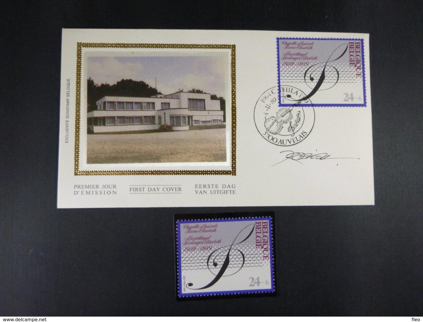 BELG.1989 2344 FDC Soie/zijde (Auvelais) & Signature Désiré Roegiest & 2344** : Muziekkapel/chapelle Musicale Elisabeth - FDC