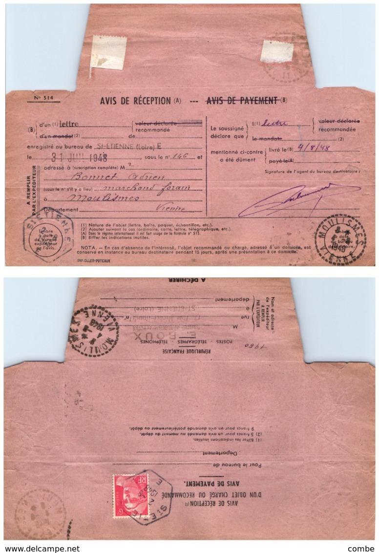 VIENNE. RECETTE-DISTRIBUTION DE MOULISMES. SUR AVIS DE RECEPTION D'UNE LETTRE RECOMMANDE DE ST ETIENNE - 1921-1960: Moderne