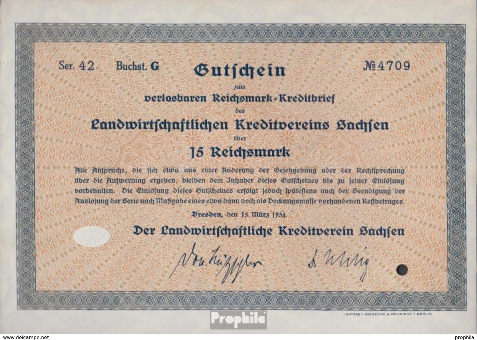 Deutsches Reich 15 Reichsmark, Gutschein Sehr Schön 1934 Landwirts. Kreditverein Sachsen - [ 4] 1933-1945 : Third Reich