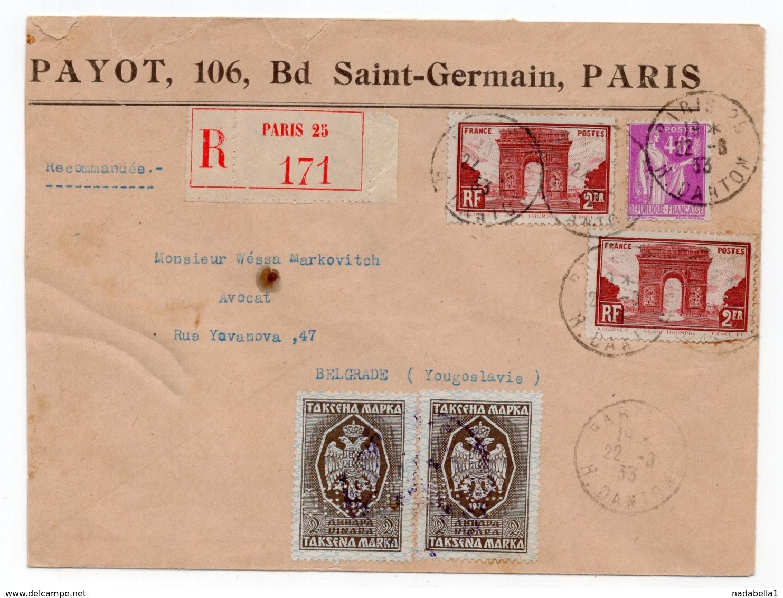 1933 FRANCE, PARIS TO BELGRADE,YUGOSLAVIA,REGISTERED,2 REVENUE STAMPS FOR CUSTOM CLEARANCE - France