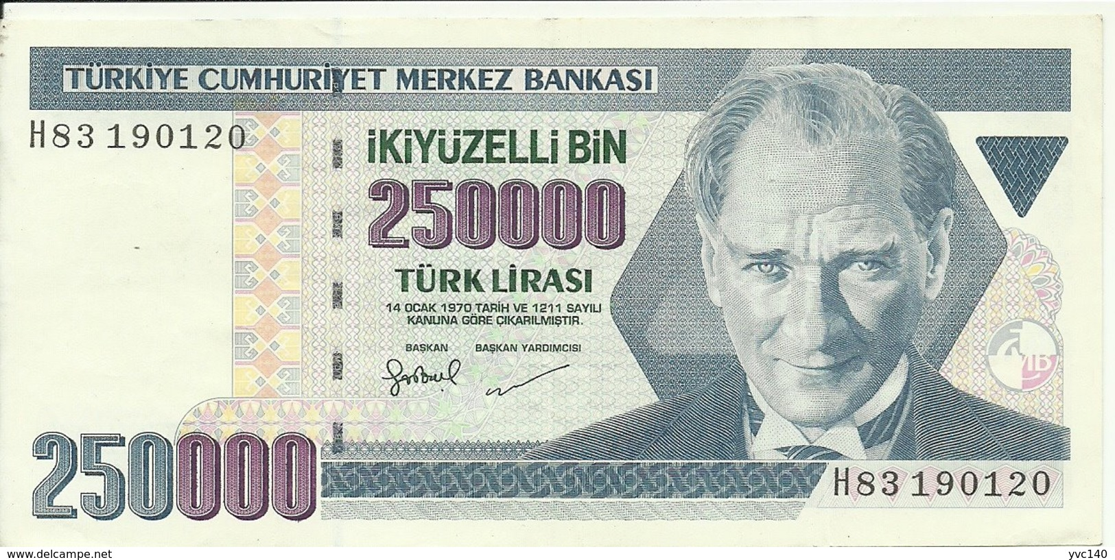 Turkey ; 1998 250000 Turkish Liras Serial H - Turchia