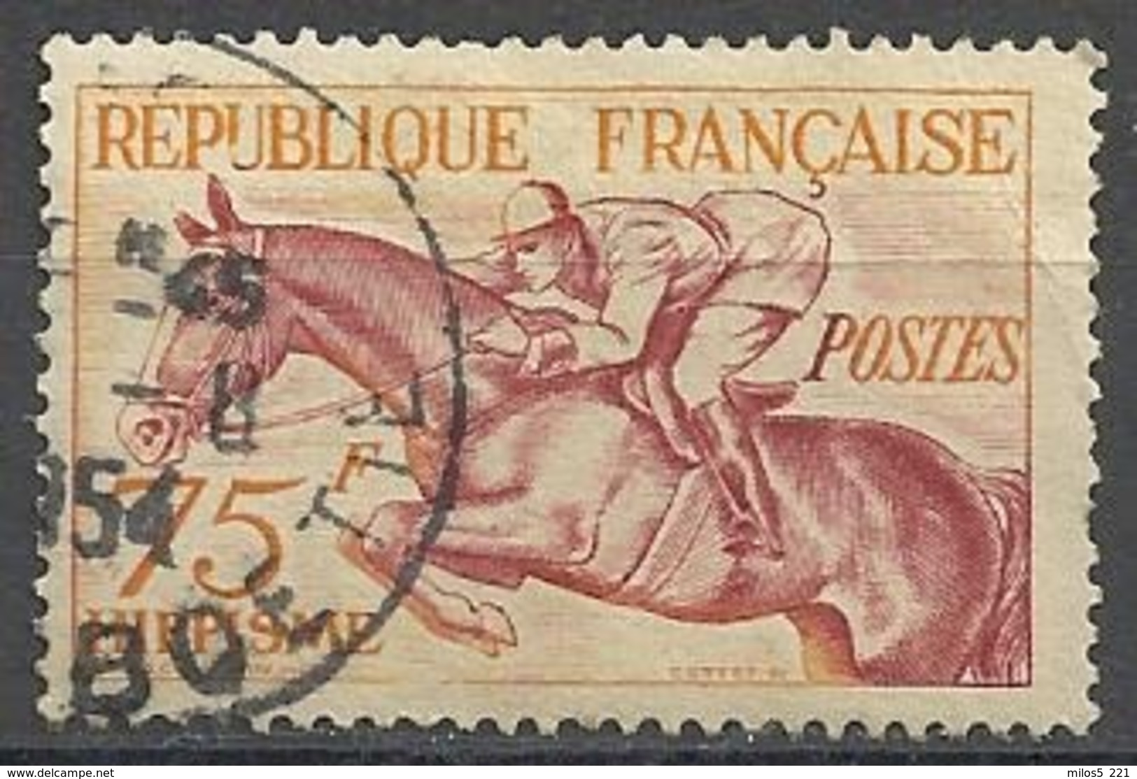 France 1953   J.O. Helsinki Y&T N° 965 Oblitéré (Hippisme) - Francia