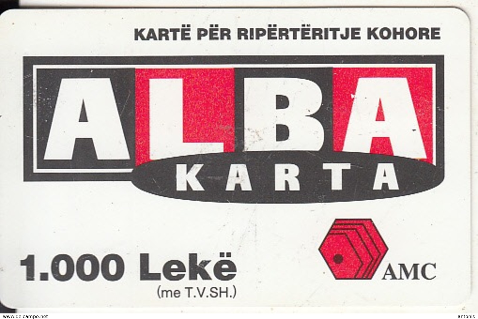 ALBANIA - ALBA Karta, AMC Prepaid Card 1000 Leke, Exp.date 22/04/04, Used - Albanie