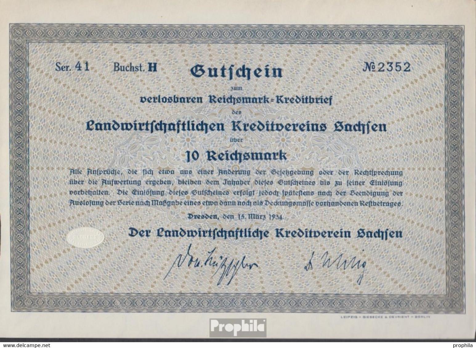 Deutsches Reich 10 Reichsmark, Gutschein Sehr Schön 1934 Landwirts. Kreditverein Sachsen - Unclassified