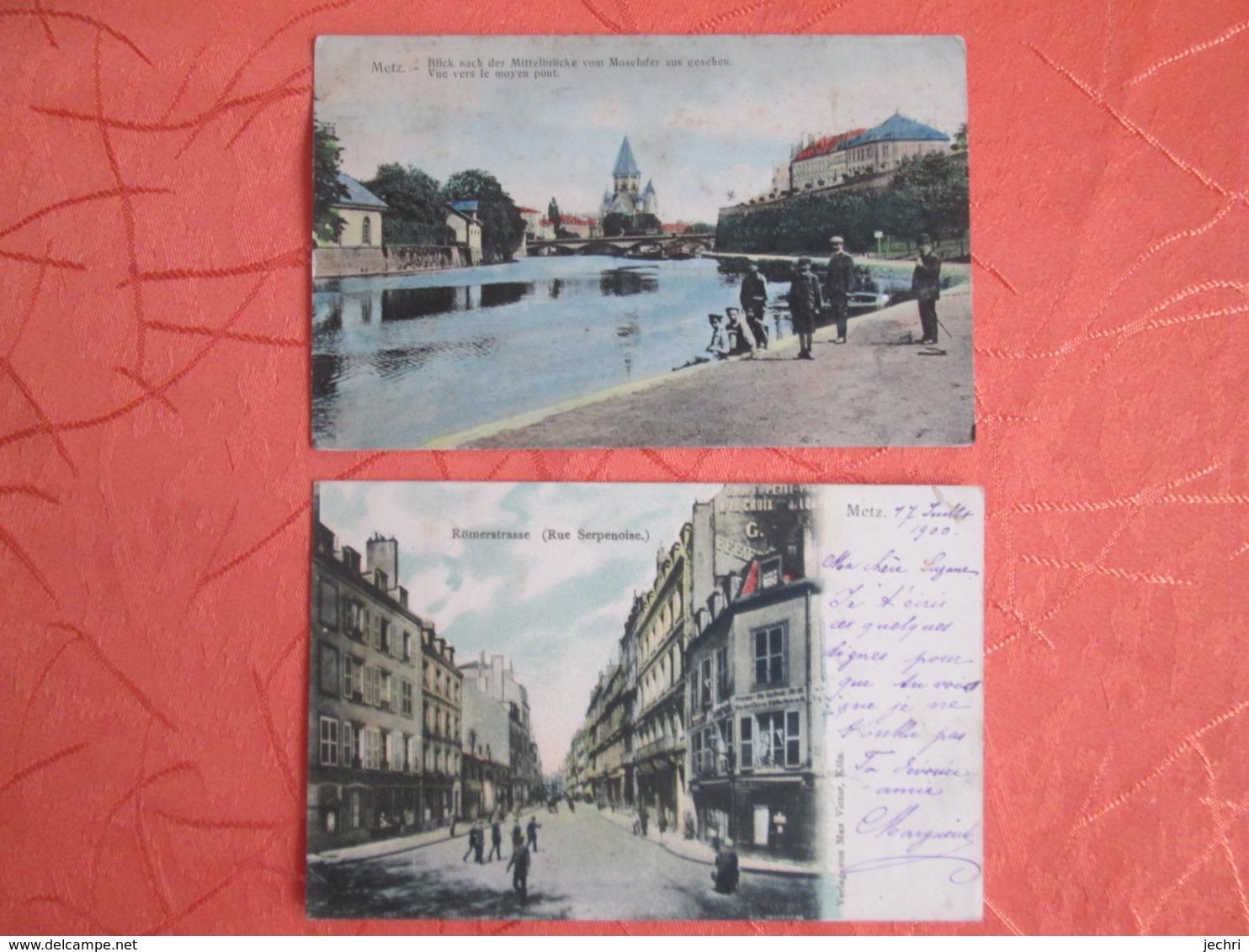 Metz .2 Cartes . Rue Serpenoise Et Vue Vers Le Moyen Pont - Metz